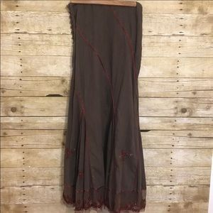 Free People Brown Embroidered Ribbon Maxi Skirt 2